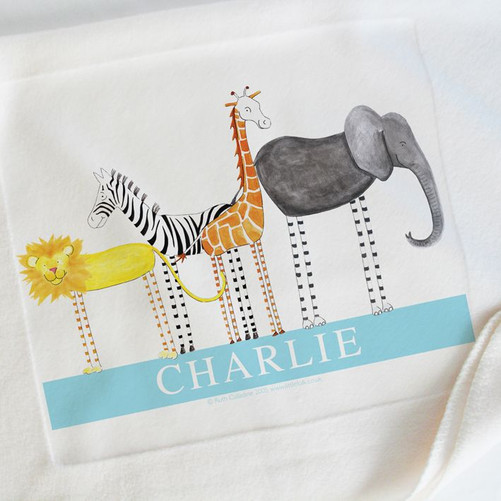 Personalised baby blankets personalised baby gifts christening personalised baby blankets personalised baby gifts christening gifts safari friends little folk negle Images